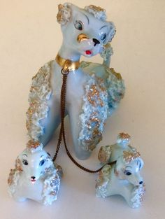 "Vintage BLUE Pastel PORCELAIN SPAGHETTI ""Poodle Mama & 2 Pups On Chain""-RETRO"