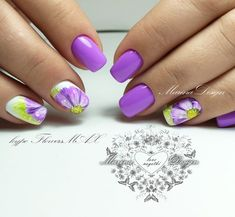 The Most Fashionable and Beautiful Purple Nail Art Designs 2018 - NailStyle Fall Nail Art Designs, Flower Nail Designs, Cute Nail Designs, Purple Nail Art, Green Nails, Purple Nails With Design, Manicure, Nails Now, Pointed Nails