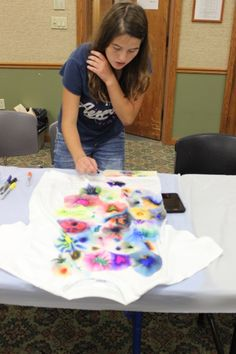 Far out! Teens made tie-dyed t-shirts at the library yesterday.