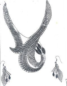 Picados de JOYAS - mar arrojo - Álbumes web de Picasa Lace Necklace, Lace Jewelry, Textile Jewelry, Bobbin Lacemaking, Jewelry Design Drawing, Bobbin Lace Patterns, Lace Heart, Needle Lace, Lace Embroidery