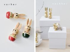 DIY: Gold paint your old wooden easter bunny's into new hip. ones. s i n n e n r a u s c h: Osterdeko Idee: Goldhasen