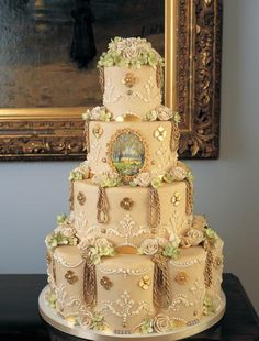 joshua john russell cakes | gold gilded victorian ivory wedding cake idea