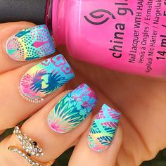 China Glaze Glow With the Flow, Sun of a Peach, Daisy Knows My Name, DJ Blue My Mind ;  Moyou stamping polishes and Moyou_London Tropical 06 and 13 ; 9/13/15 ; clairestelle8