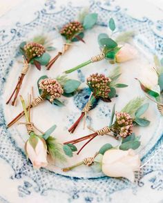 Beautiful garden-rose-and-rice-flower boutonnieres. Inspiration for #MammothWeddings