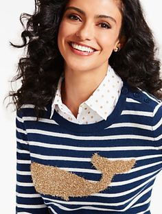 Talbots - Whale & Nautical Stripe Tinsel-Decorated Sweater | | Discover your new look at Talbots. Shop our Whale & Nautical Stripe Tinsel-Decorated Sweater for stylish clothing and accessories with a modern twist at Talbots