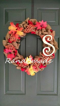 Autumn Front Door Initial Wreath by RandBmade on Etsy, $45.00