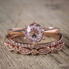 Now On Sale: Save Over $800, Normal Selling Price is $1499 Limited Time Sale for $679 Only A perfect handmade 2 carat Morganite and Diamond Trio Engagement Ring Set in 10k Rose Gold for Women. The perfect trio wedding ring set showcases main Engagement Ring and 2 matching wedding ring