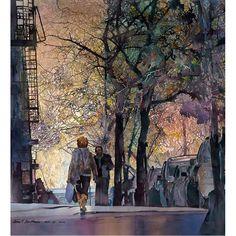 """Washington Heights"" - by John Salminen Watercolor Landscape, Landscape Paintings, Watercolor Paintings, Watercolours, Watercolor Portraits, Washington Heights, Urban Sketching, Urban Landscape, Landscape Art"