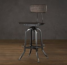 Vintage Toledo Chair Distressed Black Stool (love the shape, maybe I can find some yard sale ones that I can rub a darker finish on)