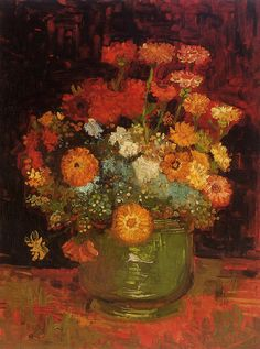 Vase with Zinnias , 1886 , by Vincent van Gogh