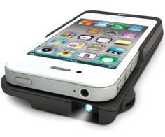 Project your iPhone screen on the wall or ceiling. There's nothing to carry around because this slips on your phone like a case. As an extra bonus this acts as a rechargeable battery so you can be out and about longer. Project your photos, games, YouTube videos, or anything you want.