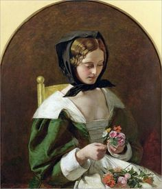 Girl Making a Bouquet of Flowers by Augustus Leopold Egg, 1849, Harris Museum and Art Gallery