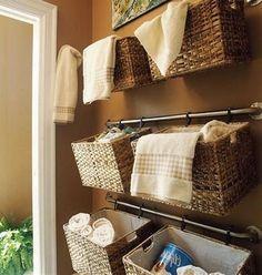 Hang Baskets on Your Towel Bars