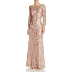 Tadashi Shoji Sequin Lace Gown ($215) ❤ liked on Polyvore featuring dresses, gowns, dusty rose, pink lace dress, pink lace gown, sequin dresses, lace evening dresses and tadashi shoji gowns