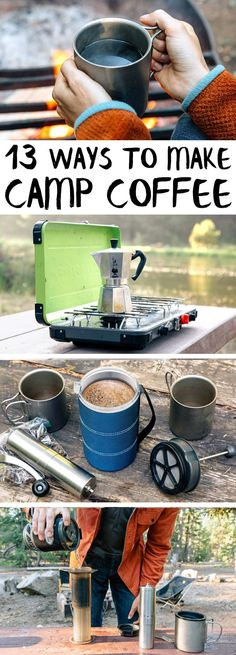 The ultimate guide to camp coffee! From cowboy coffee to stovetop espresso, here are 13 ways to make coffee while camping.