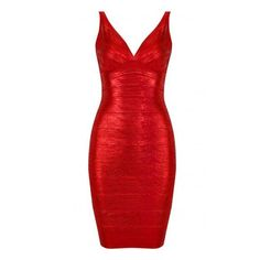 Red V Neck Sleeveless Backless Bandage Dress (290 BRL) ❤ liked on Polyvore featuring dresses, shecloth, vestidos, vneck dress, red dress, v neck bandage dress, v neckline dress and red bandage dress