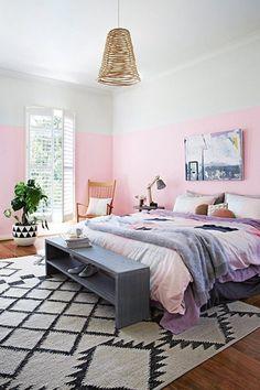 Serene and Elegant Pink Bedroom and Calming Blue Bedroom - Futura Home Decorating My New Room, My Room, Dorm Room, Half Painted Walls, Half Walls, Two Toned Walls, Home Interior, Interior Design, Purple Interior