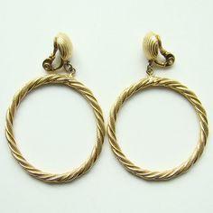 Vintage Monet Large Hoop Clip Earrings Rope Twist by redroselady, $29.00
