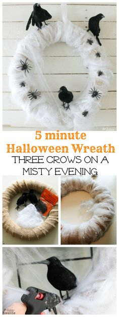 Three Crows on a Misty Evening Five-Minute Halloween Wreath - The Happy Housie