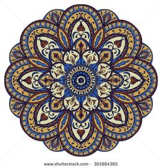Ornate, oriental mandala. Vector, round, colorful ornament isolated on a white background.