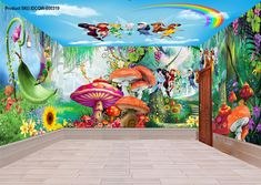 3D Tinkerbell Peter Pan Fairy Rainbow Ceiling Wall Murals Wallpaper Decals Art IDCQW-000319