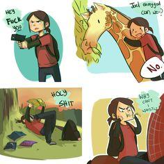 Ellie The Last Of Us Giraffe, meme Video Game Memes, Video Game Art, Comic Collage, Joel And Ellie, The Last Of Us, Edge Of The Universe, Life Is Strange, Bioshock, Gaming Memes