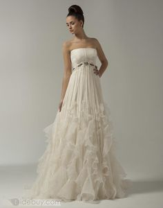 Strapless catch-up ball gown weddig dress