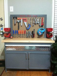 DIY work bench - place to store tools for kids