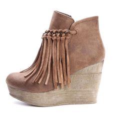 Sbicca+Zepp+Wedges   Sbicca Womens Zepp Fringe Ankle Boots Tan