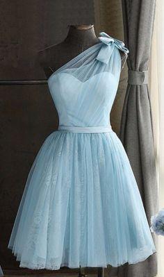Baby blue tulle one shoulder short prom dress, bowknot party dress, Shop plus-sized prom dresses for curvy figures and plus-size party dresses. Ball gowns for prom in plus sizes and short plus-sized prom dresses for Dresses For Teens, Short Dresses, Formal Dresses, Short Tulle Dress, 60s Dresses, Teens Clothes, Dance Dresses, Cheap Dresses, Maxi Dresses