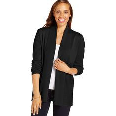Karen Scott Textured-Combo Draped Cardigan ($35) ❤ liked on Polyvore featuring tops, cardigans, luxsoft black, black drape cardigan, textured cardigan, drapey cardigan, black cardigan and drape top