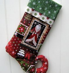 Santa Christmas Stocking Personalized Folk Art by bungalowquilts, $35.00
