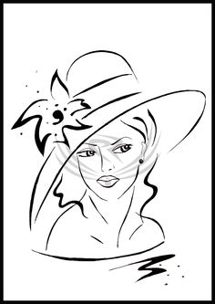 beauty paintings of women – Graphic Design Vector Pencil Drawings, Art Drawings, Doodle Designs, Easy Paintings, Wire Art, Fabric Painting, Line Drawing, Doodle Art, Hats For Women
