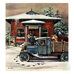 """Rural Post Office at Christmas,"" December 13, 1947 Giclee Print by Stevan Dohanos at Art.com"
