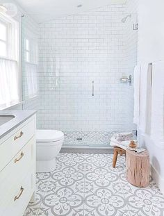 The 15 Best Tiled Bathrooms on Pinterest White Subway Tiles Light Gray Mosaic Tile Bathroom Floor #luxurybathrooms