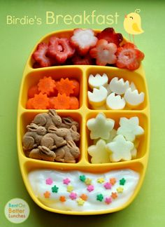 summer morning bento of fresh cut strawberry flowers, carrot suns, cheese tulips, bunny grahams, apple blossoms, and yogurt with a garden of sweet sprinkles. Toddler Lunches, Toddler Food, Bento Recipes, Baby Food Recipes, Easter Lunch, Bento Kids, Bento Box Lunch For Kids, Lunch Ideas, Apple Blossoms