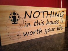Nothing in this House Warning Wooden Sign 7 x 18 Gifts for Hunters Established Signs Mancave Bar Signs Gun Sign Wood Plaque Welcome