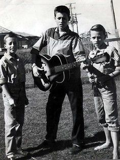 The Bee Gees (L to R: Robin, Barry, and Maurice) at home in Redcliffe, Queensland, Australia, ca. late 1950's [316 × 421] - Imgur