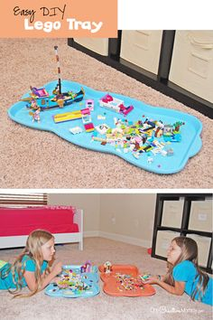 The best part of this Simple Lego Tray is that it slides under the bed for easy storage! The Legos don't get lost, and kids can clean up in a flash. {OneCreativeMommy.com}