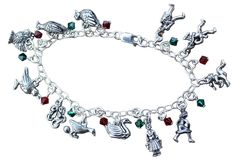 Twelve Days of Christmas Charm Bracelet- Pewter Charms, Sterling Silver Chain, Red and Green Swarovski Crystals - Size Large (8 Inches). 12 pewter charms (made in USA, nickel and lead free): partridge in a pear tree, turtle dove, French hen, calling bird, 5 rings, geese a-laying, swans swimming, maids milking, lord leaping, ladies dancing, pipers piping, and drummer drumming. Sterling silver chain and clasp. Delicate but strong. Available in size Small (7 inches), Medium (7.5 inches), and...