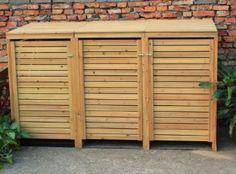 Bentley garden wooden outdoor wheelie bin storage shed cupboard unit - triple Triple Wheelie Bin Storage, Garbage Storage, Bike Storage, Cupboard Storage, Shed Storage, Storage Bins, Bin Storage Ideas Wheelie, Recycling Storage, Storage Cabinets