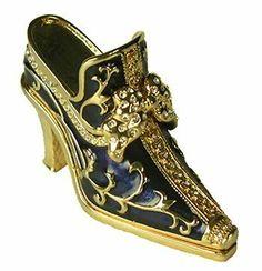 Golden Royal Shoe Trinket Box Swarovski Crystals #1131