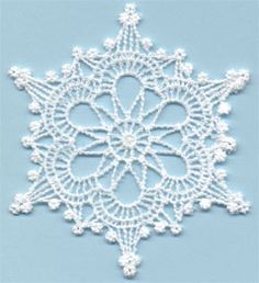 Snowflake 1 - free standing lace machine embroidery, designed to look like crochet; looks better with heavier thread or 2 threads through the needleWinter Jewel Snowflake 1 is a machine embroidery design from Lindee G Embroidery. Crochet Stars, Crochet Snowflakes, Thread Crochet, Filet Crochet, Crochet Motif, Crochet Doilies, Crochet Stitches, Crochet Coaster, Crochet Angels