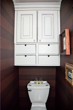 Cabinet Above Toilet Horizontal Striped Wallpaper