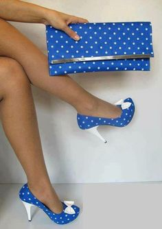 blue polka dotted shoes and purse