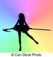 Silhouette Rainbow Dancer - Silhouette of a female dancer on...