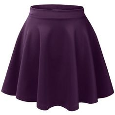 LE3NO Womens Basic Versatile Stretchy Flared Skater Skirt ($5.99) ❤ liked on Polyvore featuring skirts, purple skater skirt, purple skirt, stretch skirt, flared skirt and flare skirt