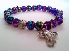 Elephant Charm Bracelet -  Rainbow Glass Beads Jewelry  Charms Beaded Bracelets Womens