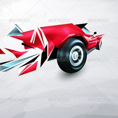 Abstract red racing car painted with graffiti