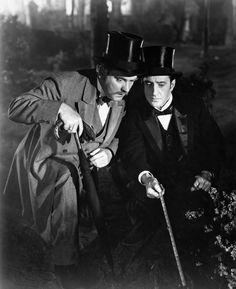 Basil Rathbone and Nigel Bruce, in The Adventures of Sherlock Holmes.